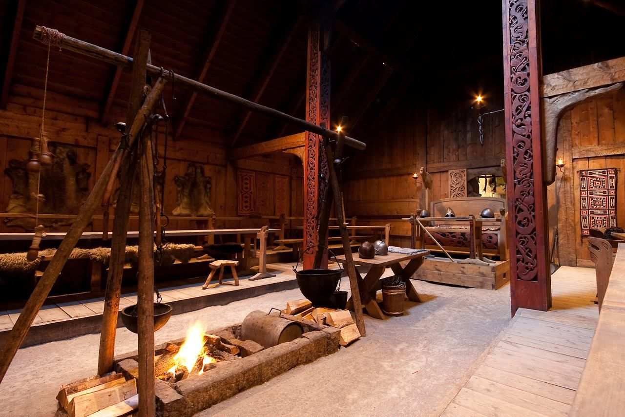 Inside The Longhouse Of Danihem Viking House Scandinavian Architecture Viking Hall