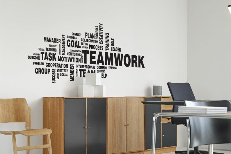 Wall Decal Teamwork Wall Art Wallpaper Office Motivation Etsy Wall Art Wallpaper Wall Decals Art Wallpaper