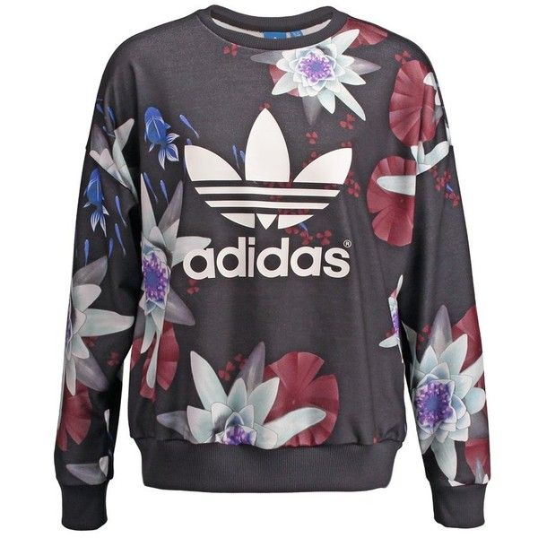 adidas Originals LOTUS Sweatshirt multcolor (1 005 ZAR) ❤ liked on Polyvore featuring tops, sweaters, black, loose tops, print top, women tops, loose tank tops and black crop top