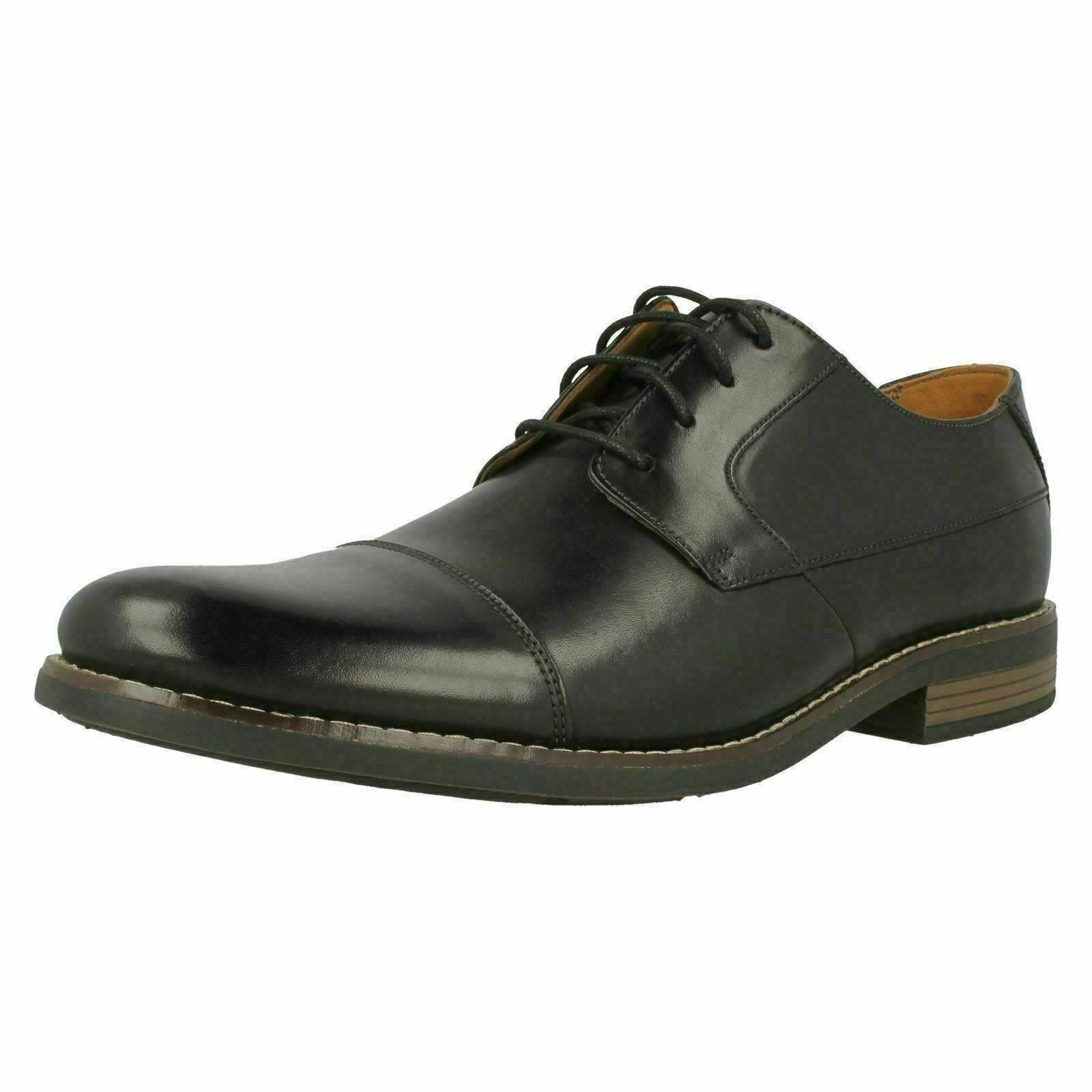 Mens Clarks Glement Over Black Leather Formal Lace Up Shoes G Fitting