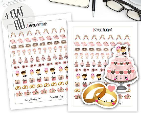 Printable Wedding Planner Stickers Kawaii Bullet