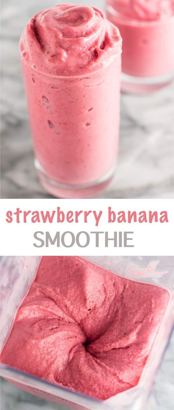 Healthy strawberry banana smoothie recipe with just 3 ingredients! This seriously tastes like ice cream - so good! #strawberrybananasmoothie #healthy #healthysmoothie #breakfast #dessert #healthystrawberrybananasmoothie
