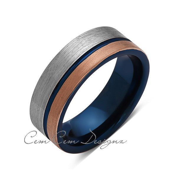 Blue Tungsten Wedding Band Rose Gold Brushed Tungsten Ring 8mm Mens Ring Brushed Tungsten Carbide Engagement Band Comfort Fit Blue Tungsten Ring Blue Mens Rings Mens Wedding Bands Blue
