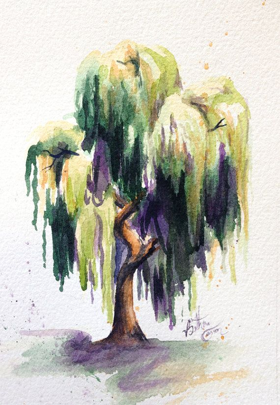 Watercolor Willow Tree By Beecanbe On Etsy Willow Tree Tattoos