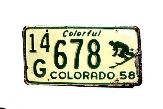 1958 Colorado Skier License Plate 14G678 - Ski Colorado License Plate - Colorado Skier Plate