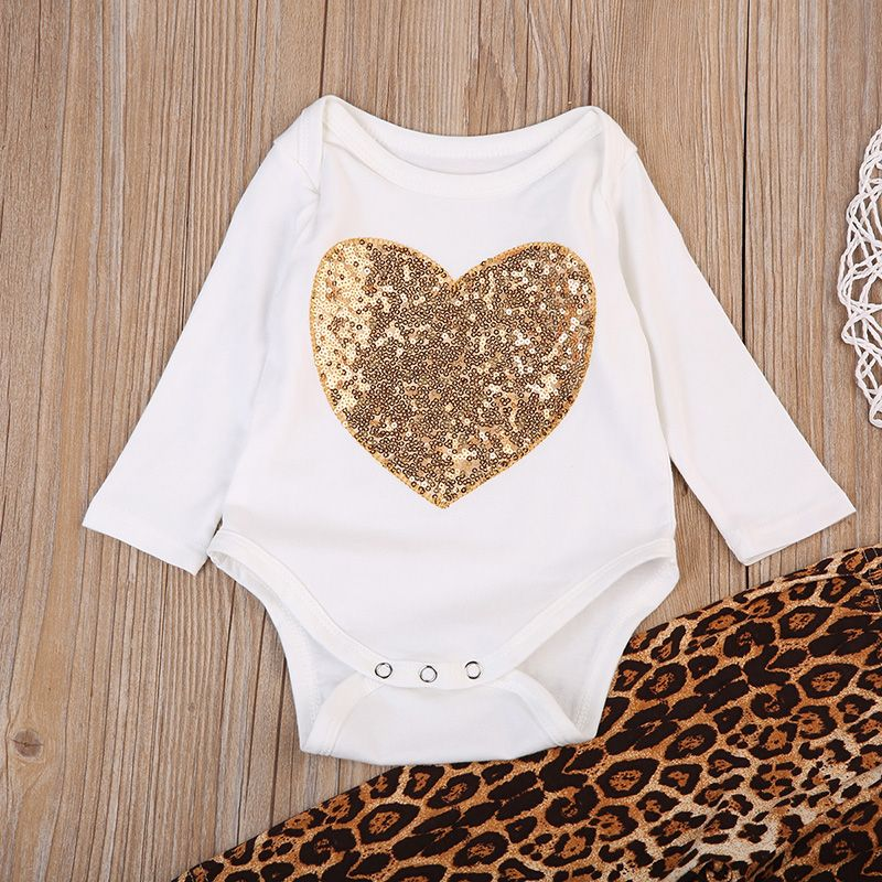 4a4409e03383 Sequins Newborn Baby Girl Clothes Long Sleeve Heart Romper Tops Leopard  Pant Legging 2PCS Outfit Toddler