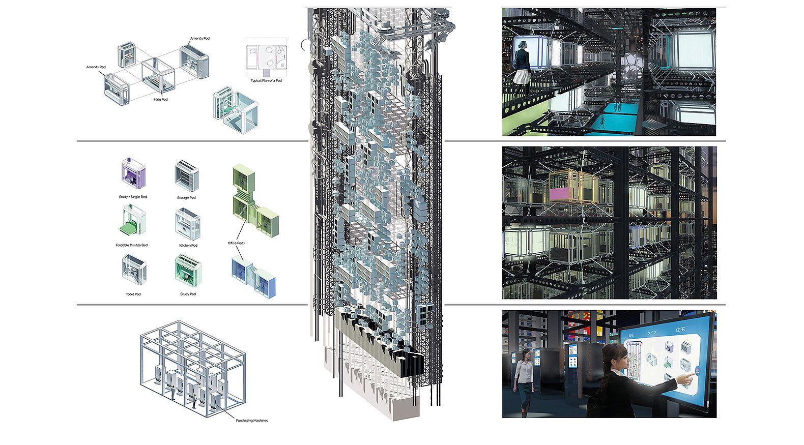 Gigantic Vending Machine Skyscraper Dispenses 3d Printed Homes  # Muebles Jardin Tokyo