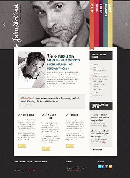 template 39054 html5 and jquery website template with animated header and colorful ribbons
