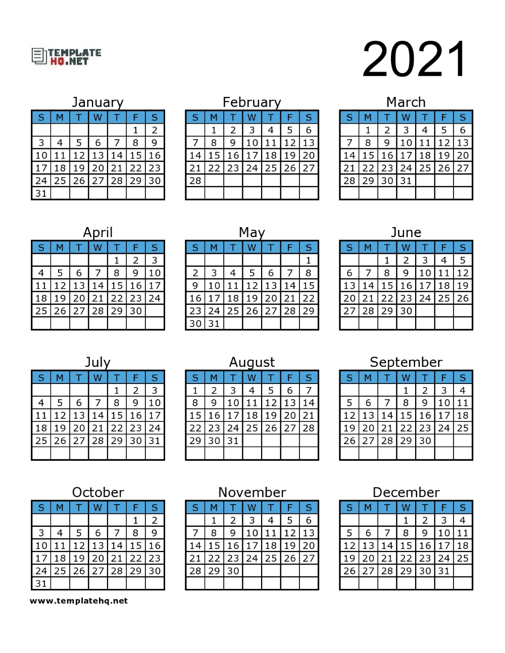 Download this annual blank calendar template for 2021 in a landscape format document. Free 2021 Calendar Printable di 2020