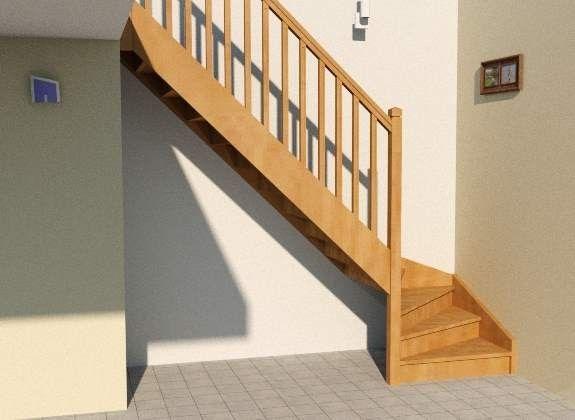 Escalier quart tournant, prêt à recevoir son aménagement sur mesure - cree sa maison en d