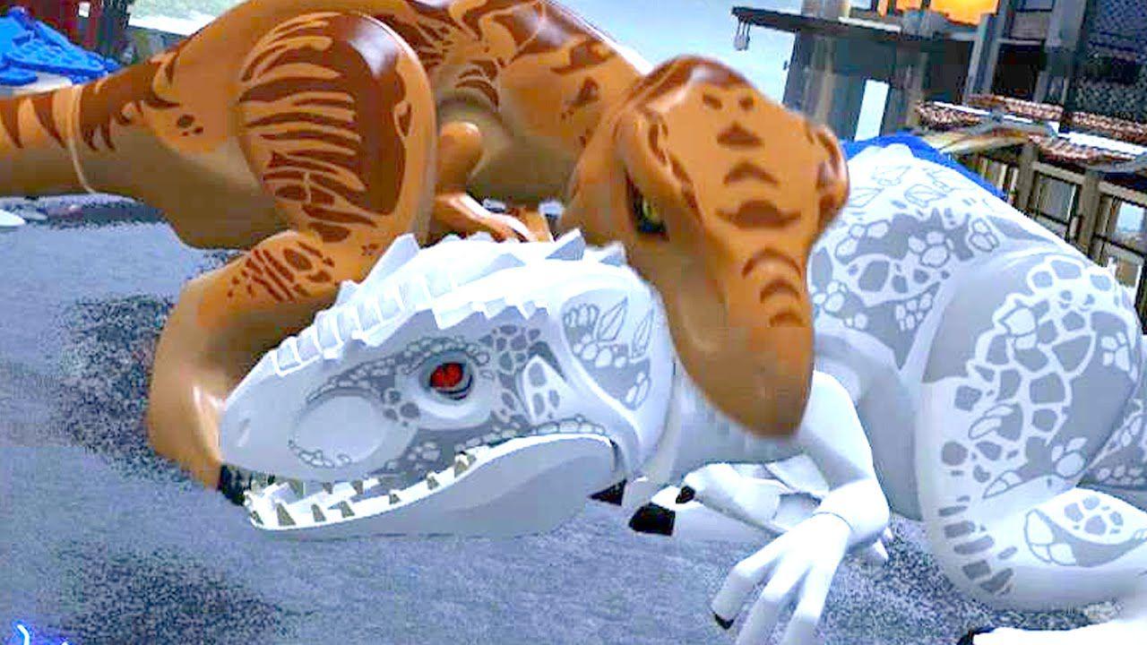 LEGO Jurassic World - Indominus Rex VS T-Rex + Ending [Full Battle ...