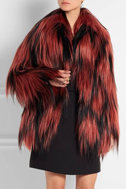 Famous Gucci Diamond Long Hair Goat Fur Coat Jacket Handwoven 42 Womens Faux Fur Coat Jackets Designer Outfits Woman [ 1500 x 999 Pixel ]