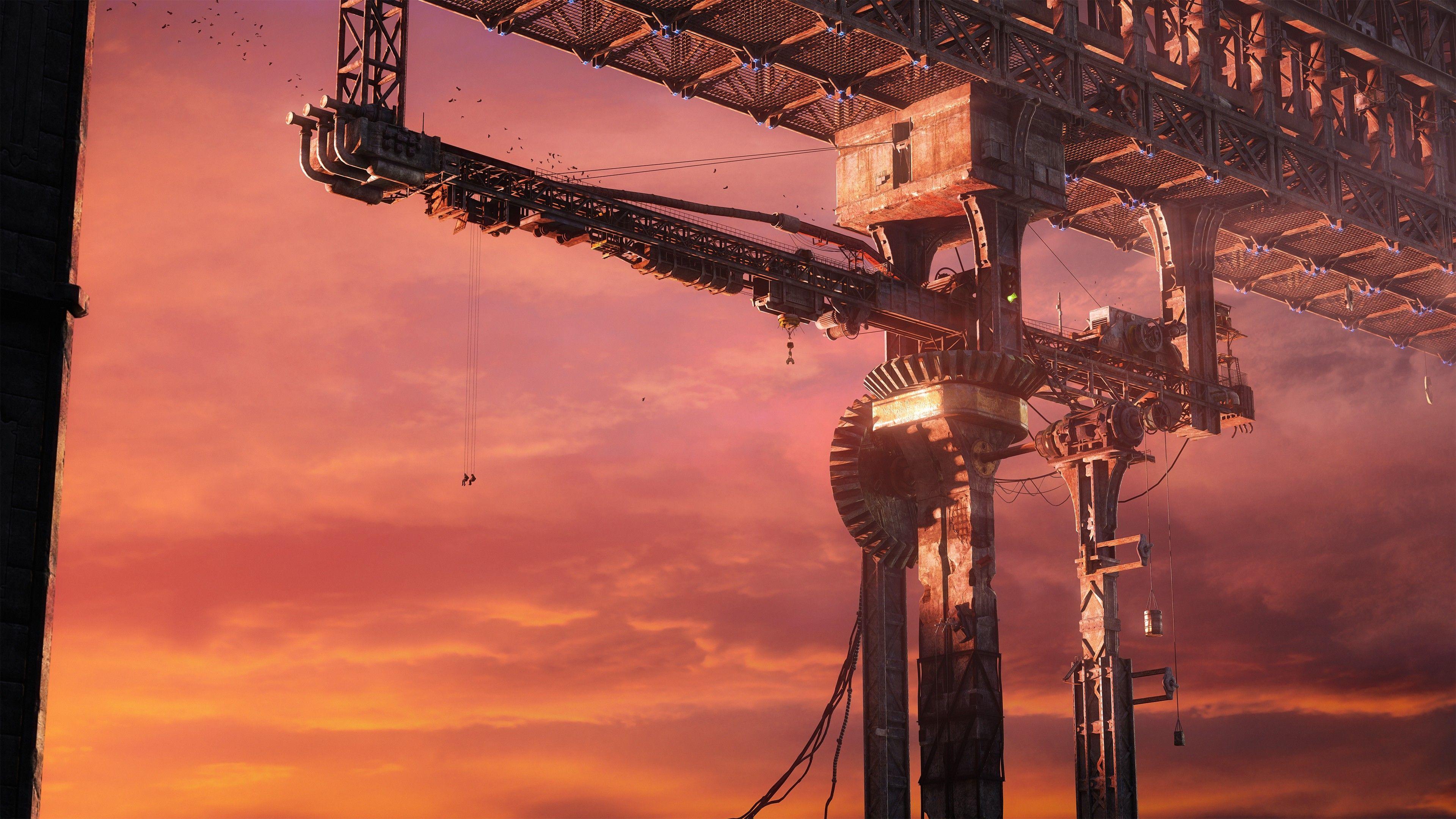 General 3840x2160 Digital Art Garry S Mod Uhd Wallpaper Futuristic City Crane Construction