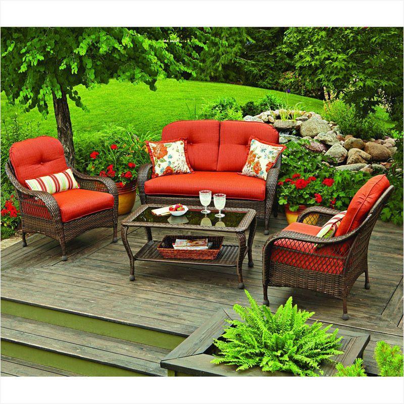 Replacement Cushions For Azalea Ridge Set Garden Winds Useful Garden Ridge Patio Furnit Contemporary Patio Furniture Patio Furnishings Patio Furniture Cushions