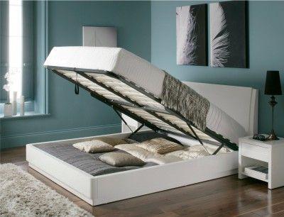 Cool Aden High Gloss Ottoman Storage Bed White Double Bed Frame Short Links Chair Design For Home Short Linksinfo