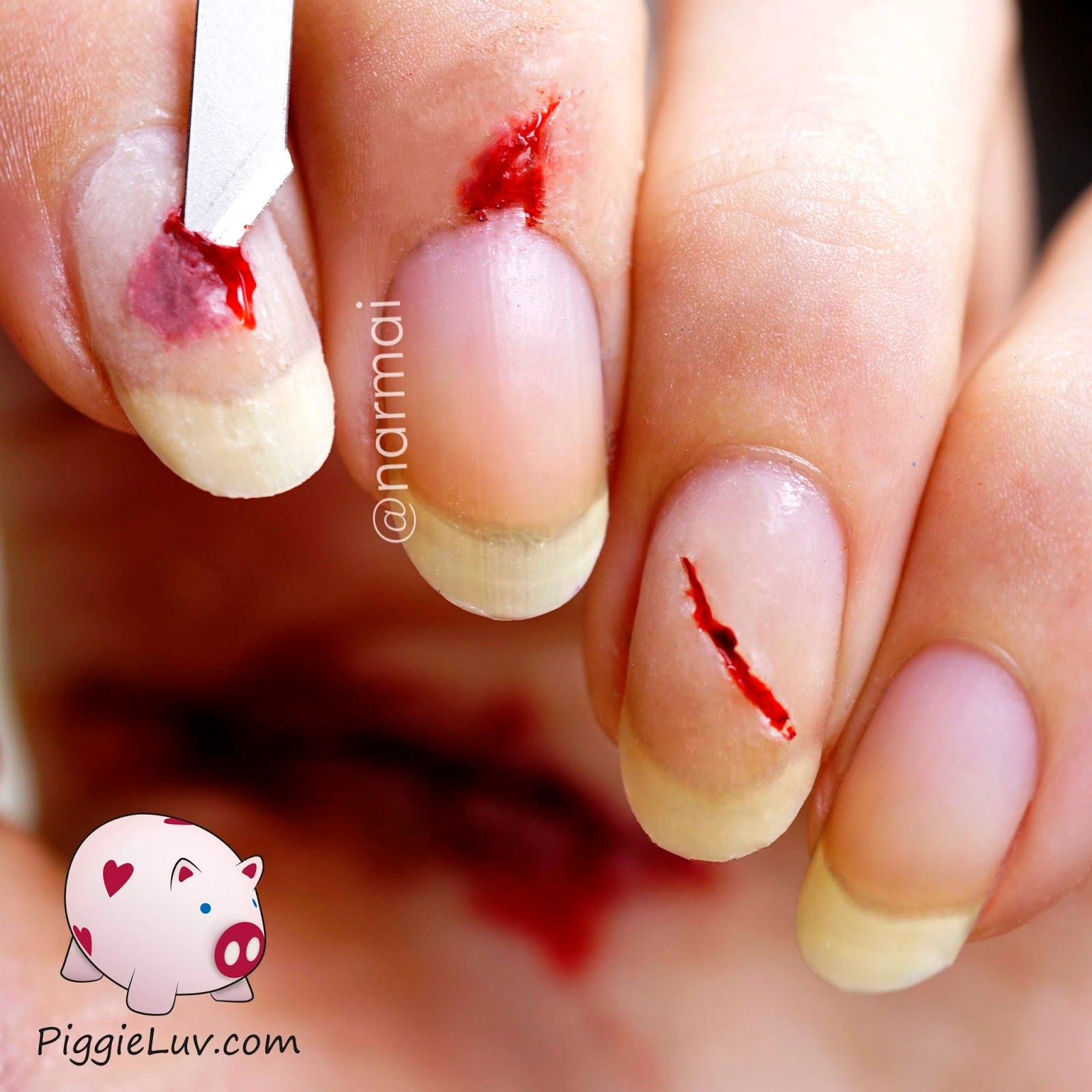 Bloody razor cuts nail art for Halloween | Cut nails, Mani pedi and Pedi