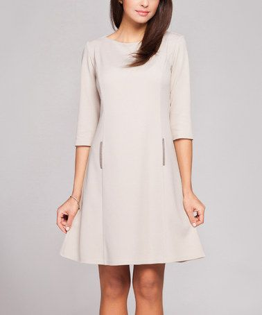 This Beige Boatneck A-Line Dress - Women by FIGL is perfect! #zulilyfinds