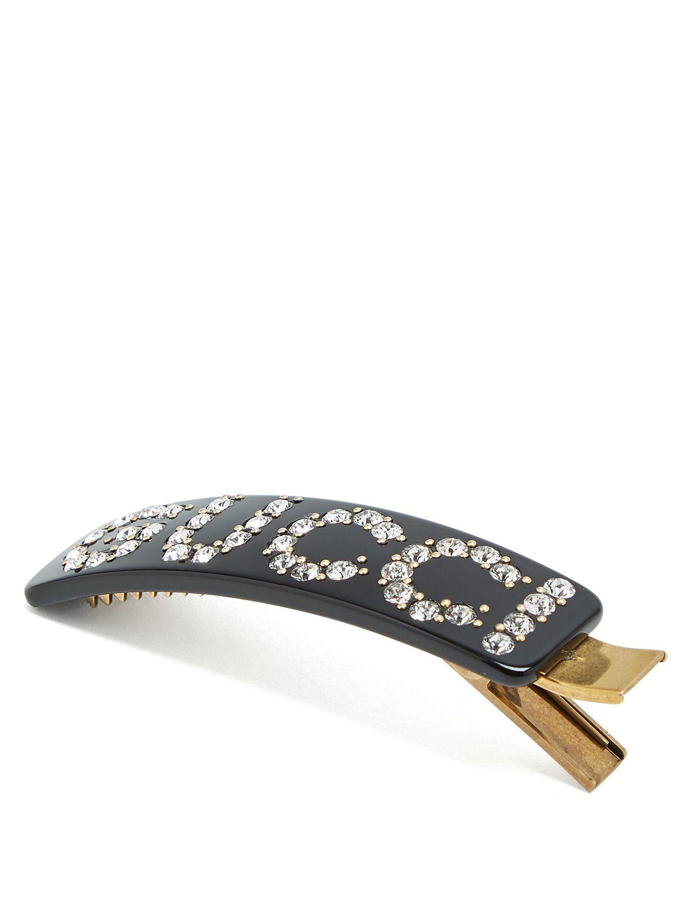 1d08e106c Crystal-embellished logo hair clip   Gucci   MATCHESFASHION.COM ...