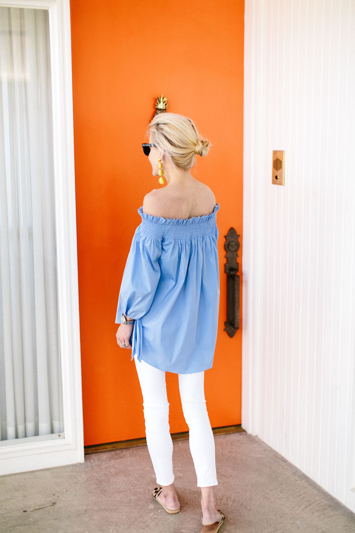 Blue off the shoulder top.