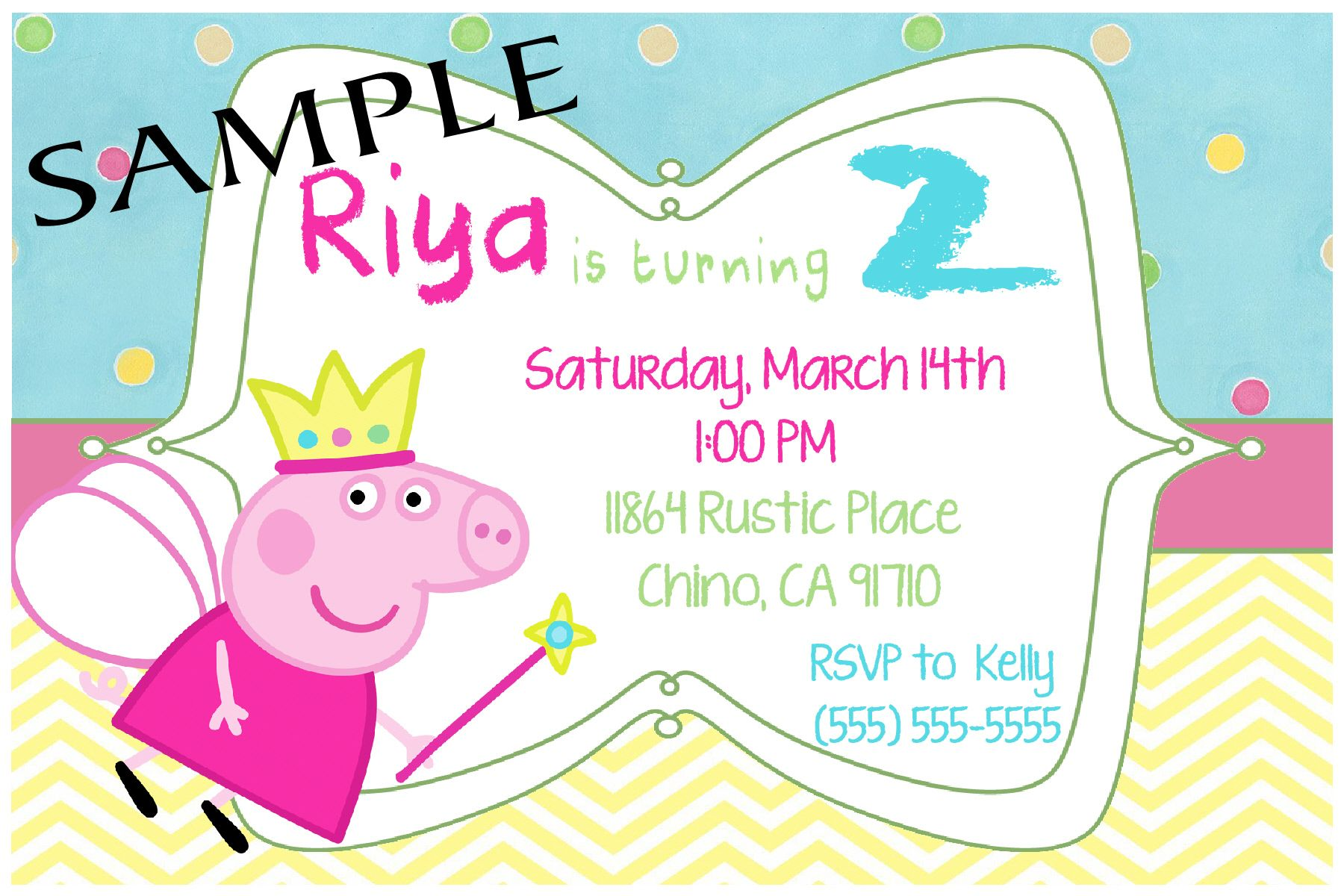 Peppa Pig Birthday Invitation. Click on the image twice to place ...
