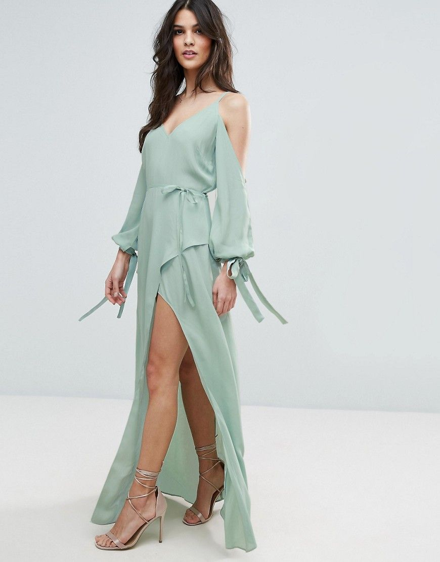 Asos cold shoulder long sleeve maxi dress green products