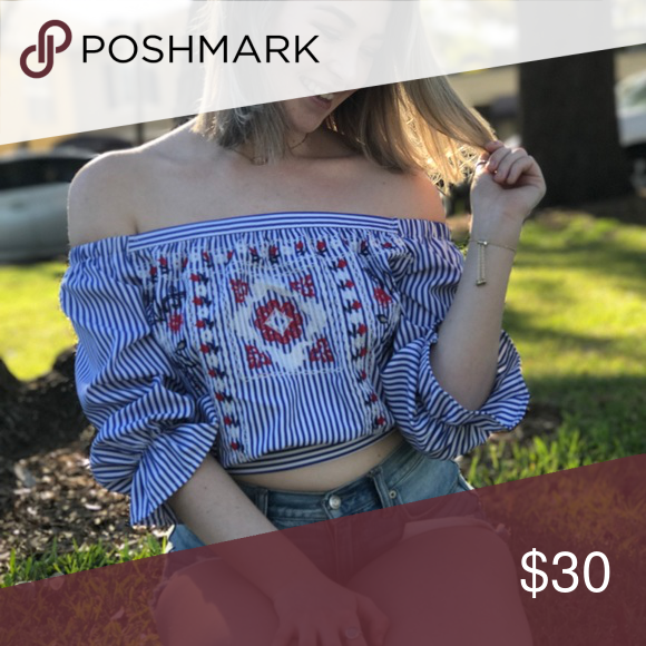 Red white & blue embroidered pin strip top❤ Adorable bow in the back to tie for as tight or as loose as you'd like! Off the shoulder. Embroidered with red detailing. Super perfect for Fourth of July or just to wear out! Tagged for exposure, purchased from boutique. Zara Tops Blouses