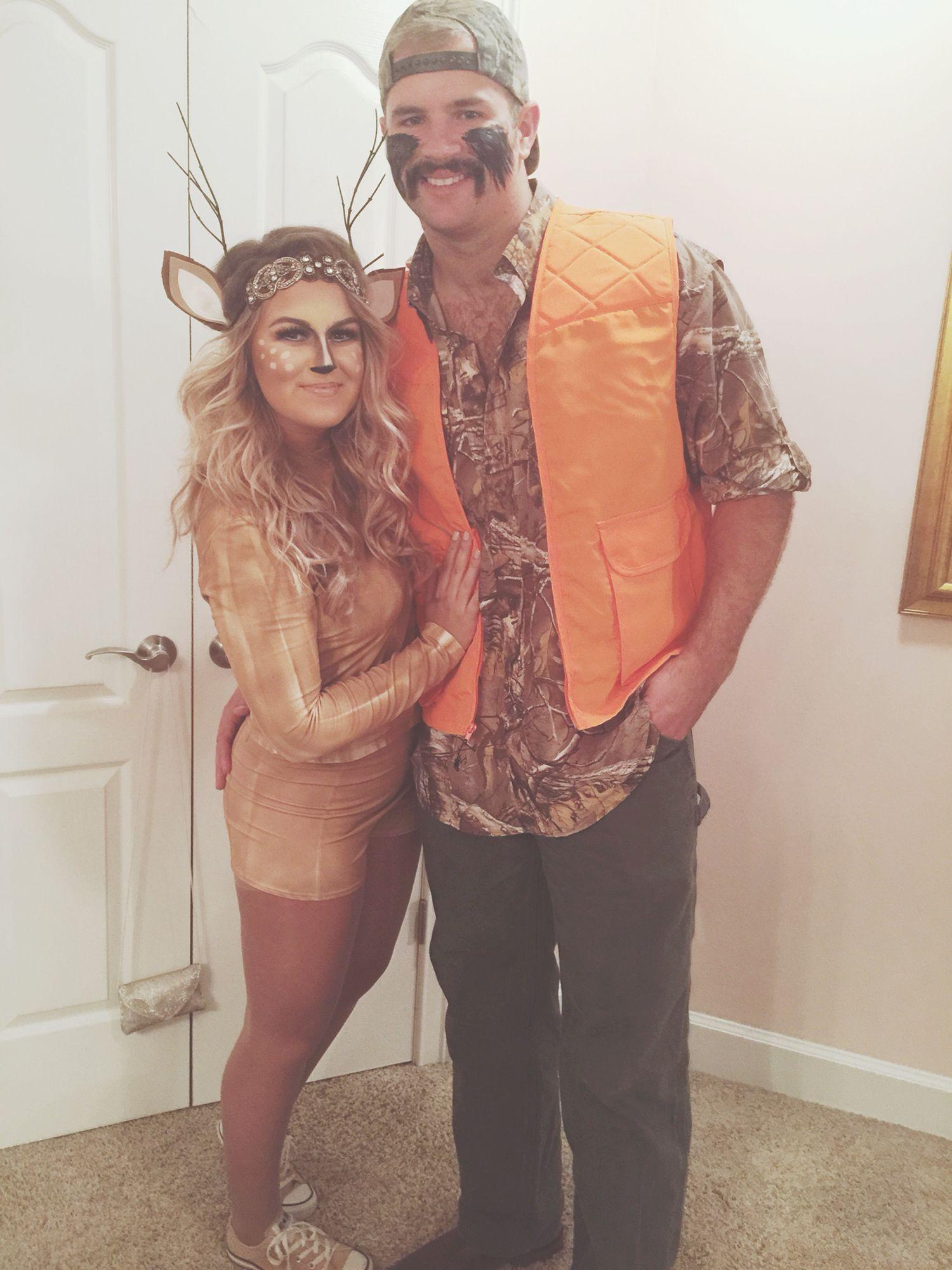 Diy Deer And Hunter Halloween Costume Halloween Costumes Diy Couples Celebrity Couple Costumes Couple Halloween