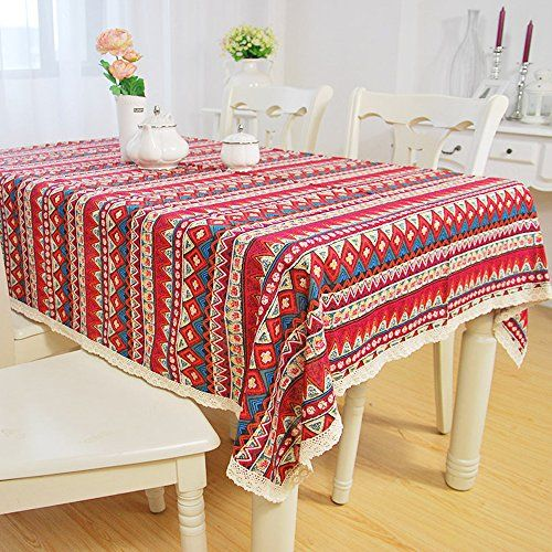 Yazi Red Mediterranean Boho Style Dining Tablecloth Cotton Linen Lace Table Cover Birth Party Valentine S Day Gif Table Covers Table Cloth Tablecloths For Sale