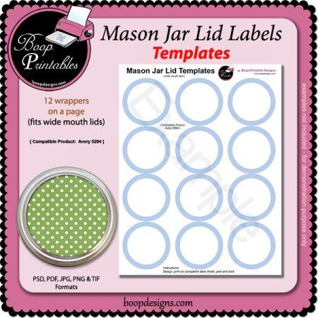 Jar Lid Label templates - 5294 by Boop Printable Designs Blank