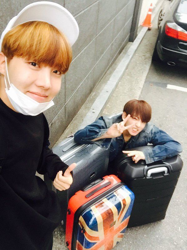 "J- Hope and Jungkook looking FAB ❤ ""다녀오겠슈"" ~ ""We'll go and come back safely"" #BTS #방탄소년단"