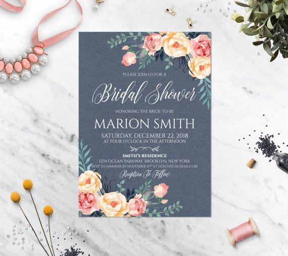 22831d05523d Bridal Shower Invitation Printable Floral Bridal Shower Invite Blue Bridal