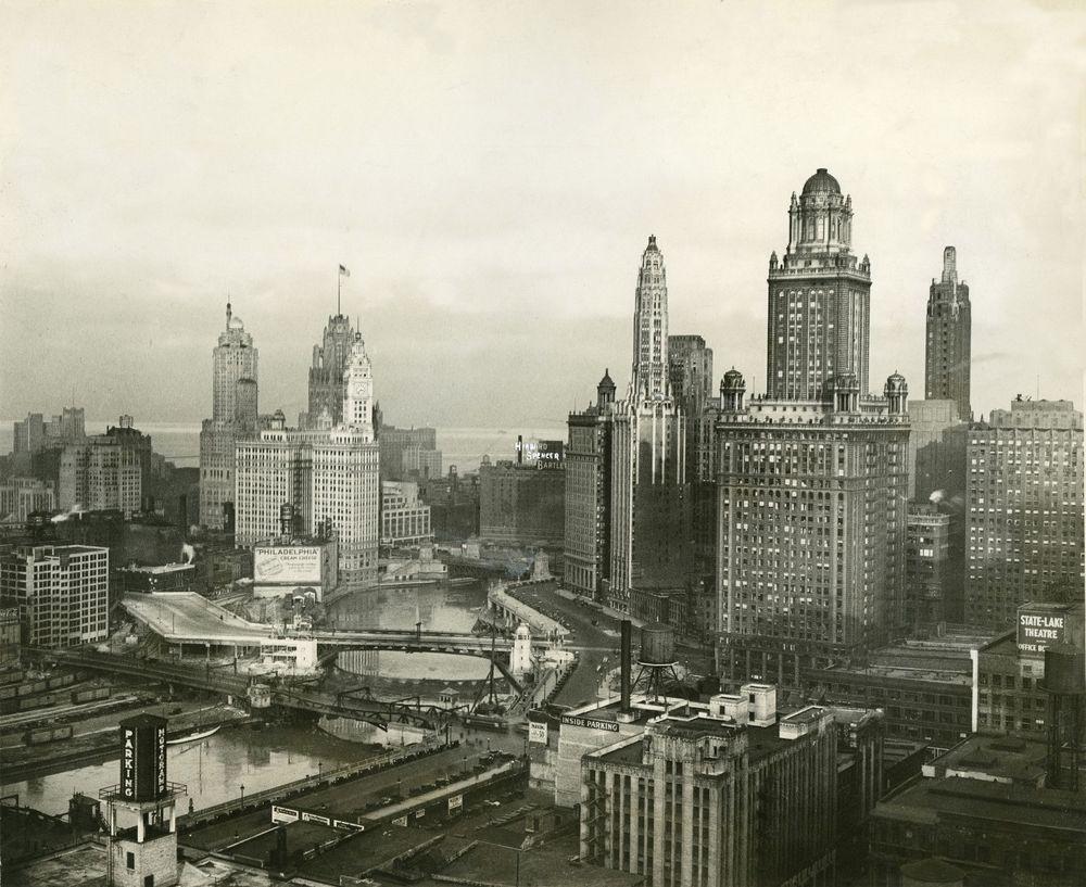 Chicago Skyline, 1931, vintage city view, photograph, 20\