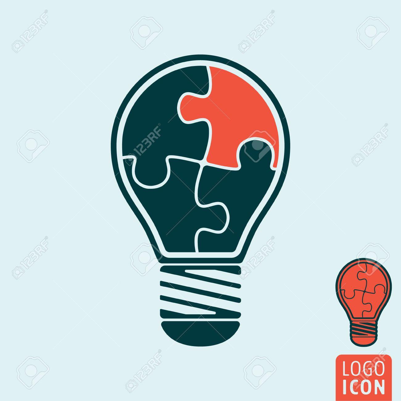 Light Bulb Icon Light Bulb Symbol Light Bulb With Jigsaw Puzzle