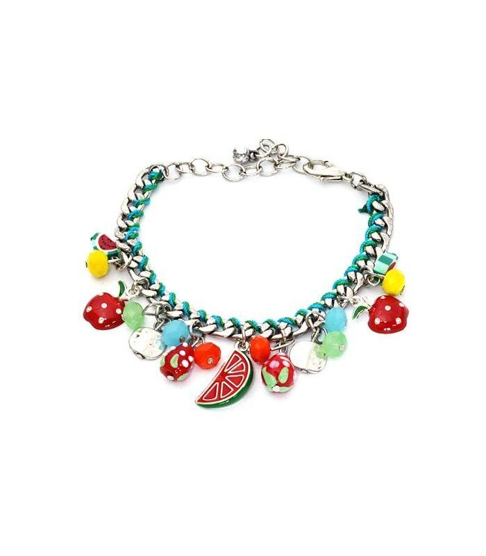 Zilverkleurige armband met fruit bedels|De lengte van de armband is 17 cm