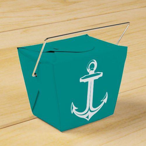 Nautical Ship Anchor Teal Beach Wedding Party Favor Box