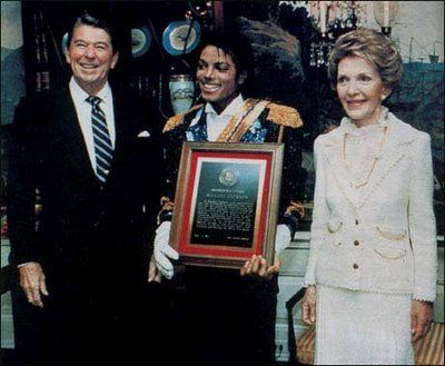 THIS DAY IN ROCK HISTORY: May 14, 1985:  At the White House President Ronald Reagan presents Michael Jackson with the Presidential Humanitarian Award for his work against drunk driving.
