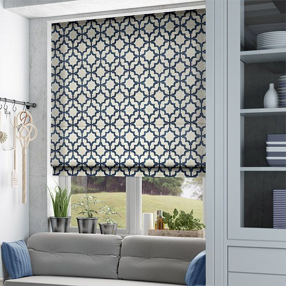 Lattice Navy Blue Roman Blind Roman Blinds Curtains