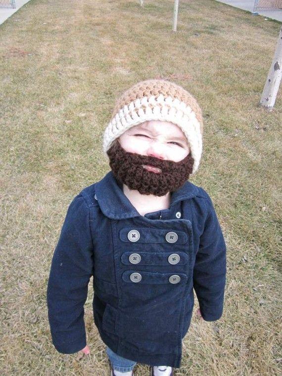 Kids ULTIMATE Bearded Beanie Warm Brown 2-Stripe