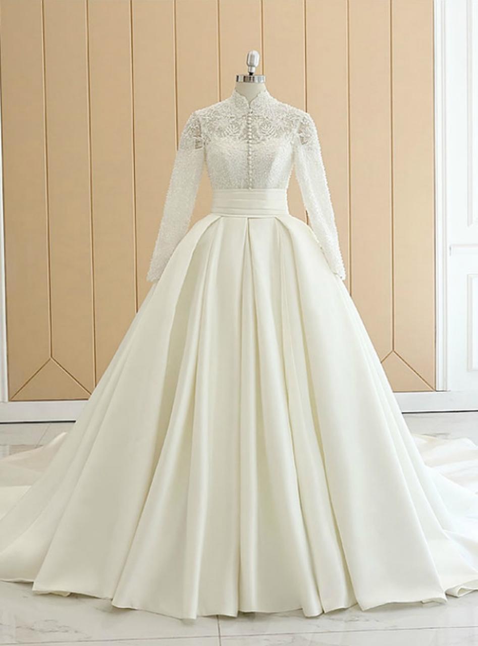 White Satin High Neck Long Sleeve Wedding Dress With Button High Neck Long Sleeve Wedding Dress Wedding Dresses Satin Wedding Dress With Pockets