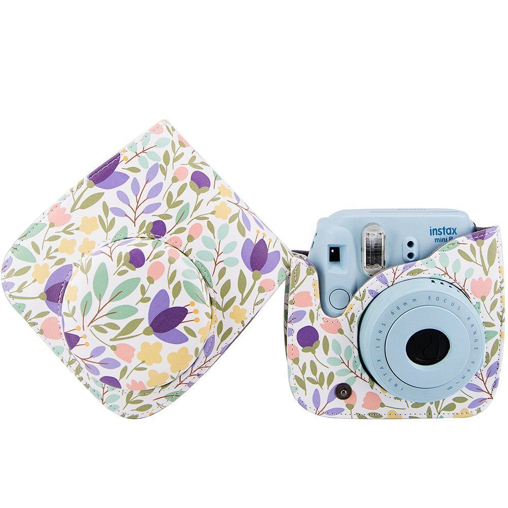 Amazon Com Elvam Purple Flower Floral Pu Leather Fujifilm Instax