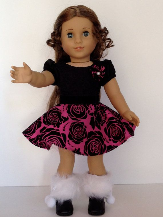 American Girl Doll Clothes - Let's go dancing! A Shirley Temple inspired pink and black party dress.