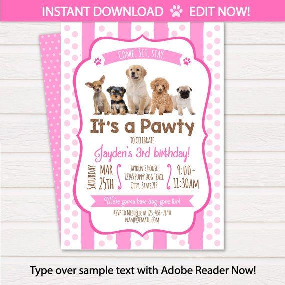 Puppy Birthday Invitation Dog Birthday Party Invitations Puppy Birthday Invitations Dog Themed Party Instant Access Edit Now Puppy Birthday Parties Puppy Birthday Birthday Party Invitations