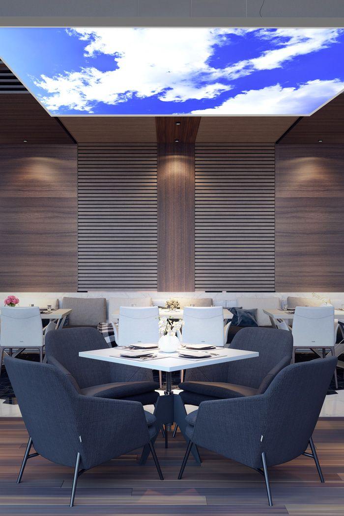 Restaurant salle manger avec plafonnier lumineux - Plafonnier salle a manger ...