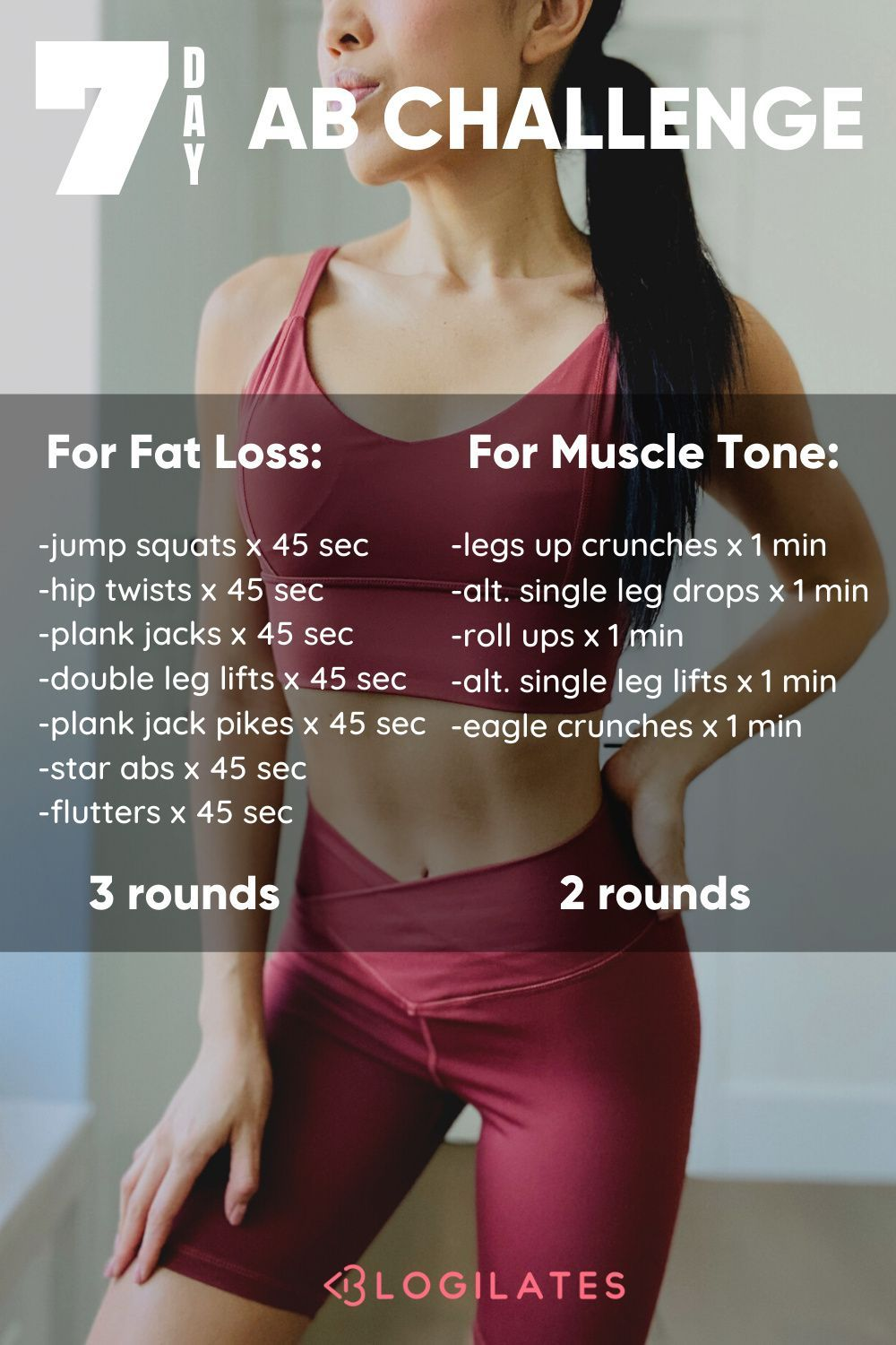 Transform your abs with this easy ab workout challenge in just a week! Try this one week workout challenge and 7 day workout challenge and get ab workouts at home that you can do anywhere! Tap to try the 7 day ab challenge on Blogilates.com.