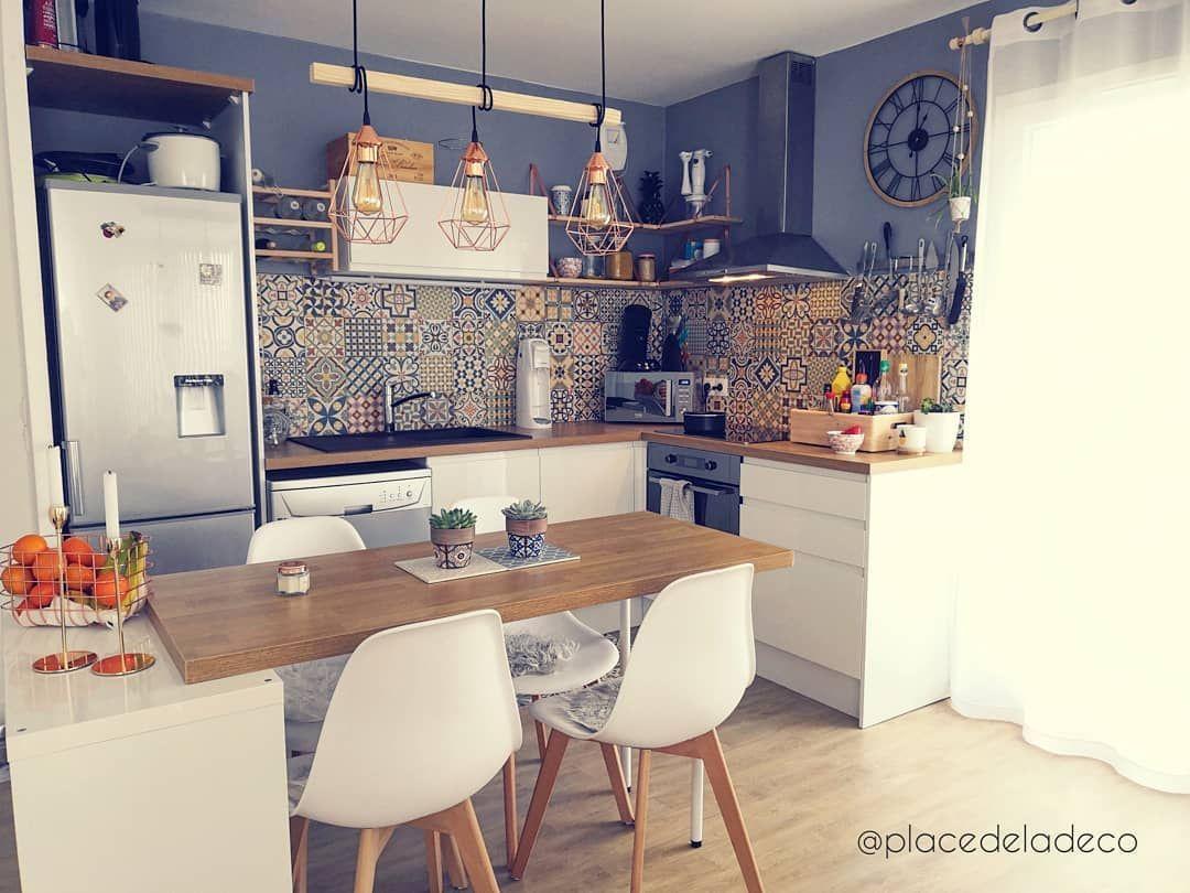 Petite cuisine ouverte colorée carreaux de ciment  Home, Home