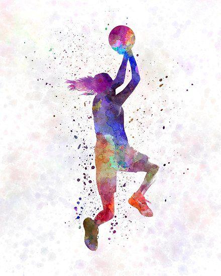 Póster jugador de baloncesto mujer joven 05 de paulrommer