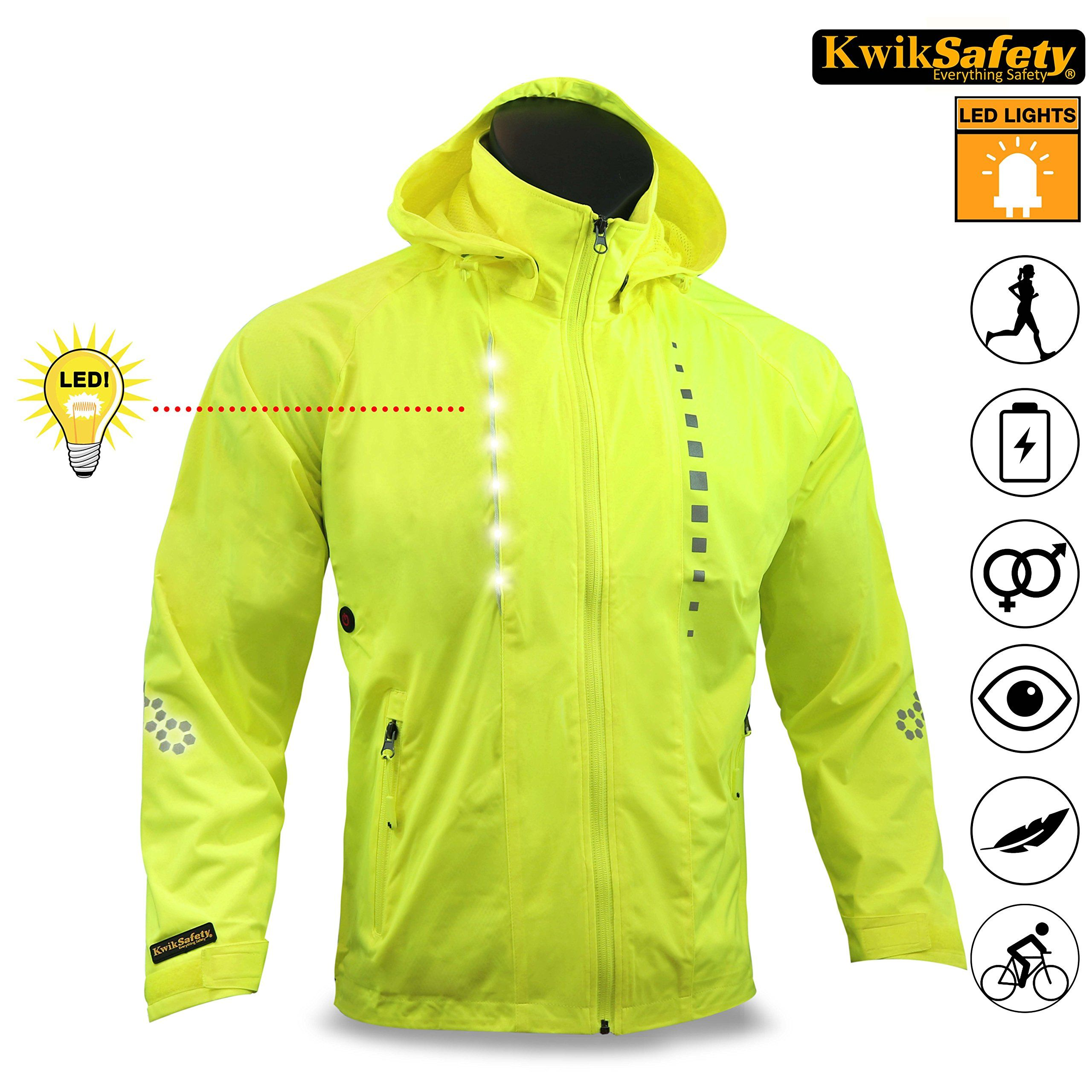 Kwiksafety Firefly Racing Led Cycling Jacket Hi Vis Reflective Luminous Biker Safety Breathable Lightweight Waterp Cycling Jackets Cycling Jacket Jackets