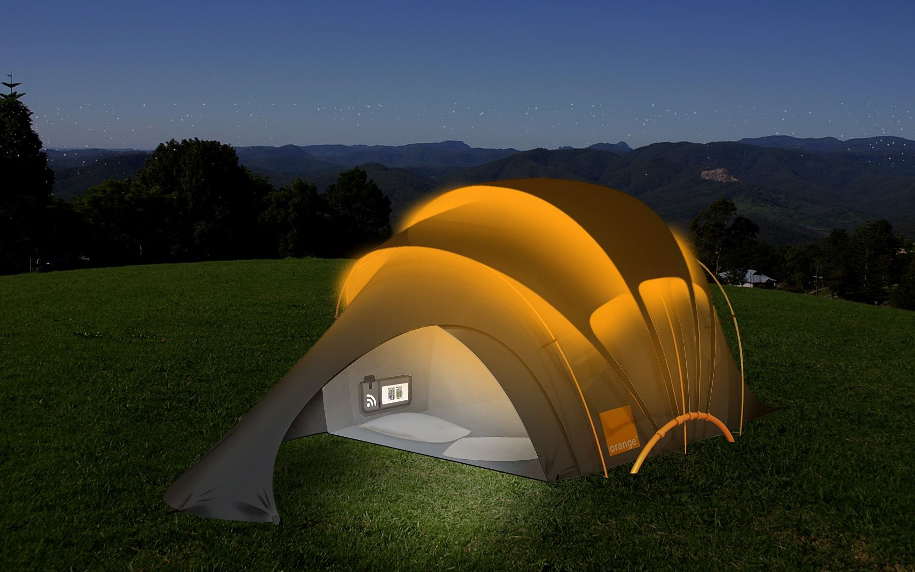 Orange Chill u0027Nu0027 Charge Tent- Solar Tent That Glows & Orange Chill u0027Nu0027 Charge Tent- Solar Tent That Glows | Tents Solar ...