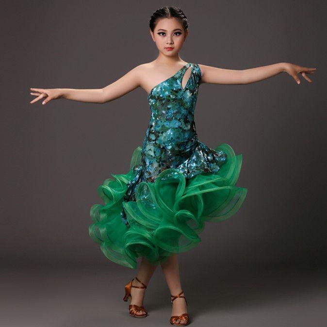 c83578a17d94 Click to Buy << New professional green dance costumes for kids latin dress  fringe tiger elastic dancewear rumba samba costumes salsa dress #Affiliate