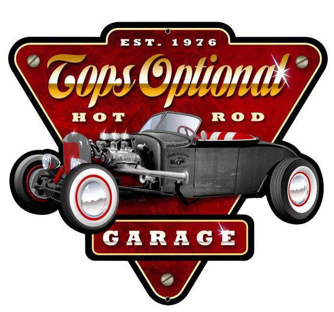Custom Car Garage Signs : Tops optional hot rod garage custom shape metal sign